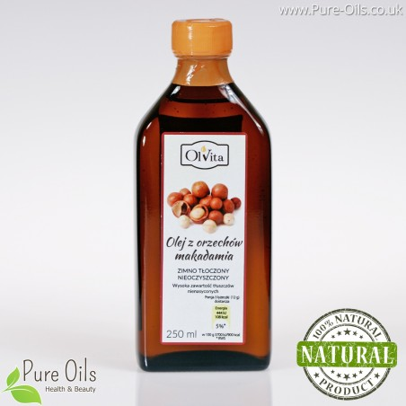 Macadamia nut oil, oil, cold-pressed and crude Ol'Vita 250ml