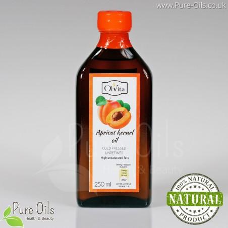 Olej z pestki moreli zimnotłoczony nieoczyszczony Ol'Vita 250 ml