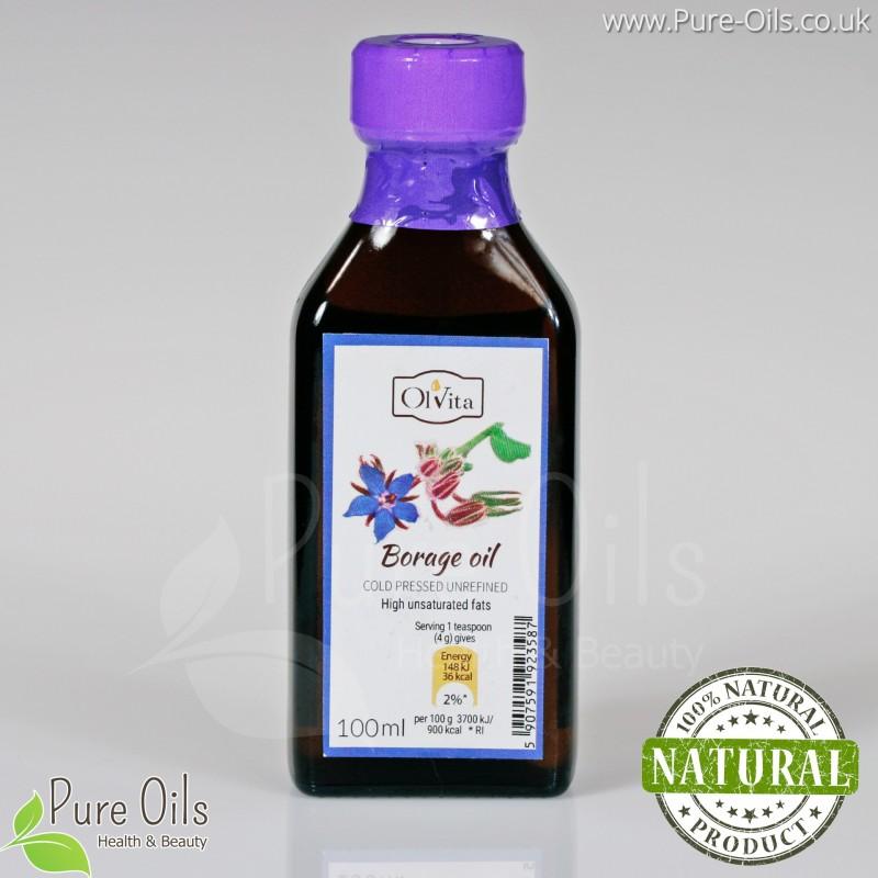 Borage seed oil - Foodstuff, Unrefined, Cold Pressed, Ol'Vita - 100 ml