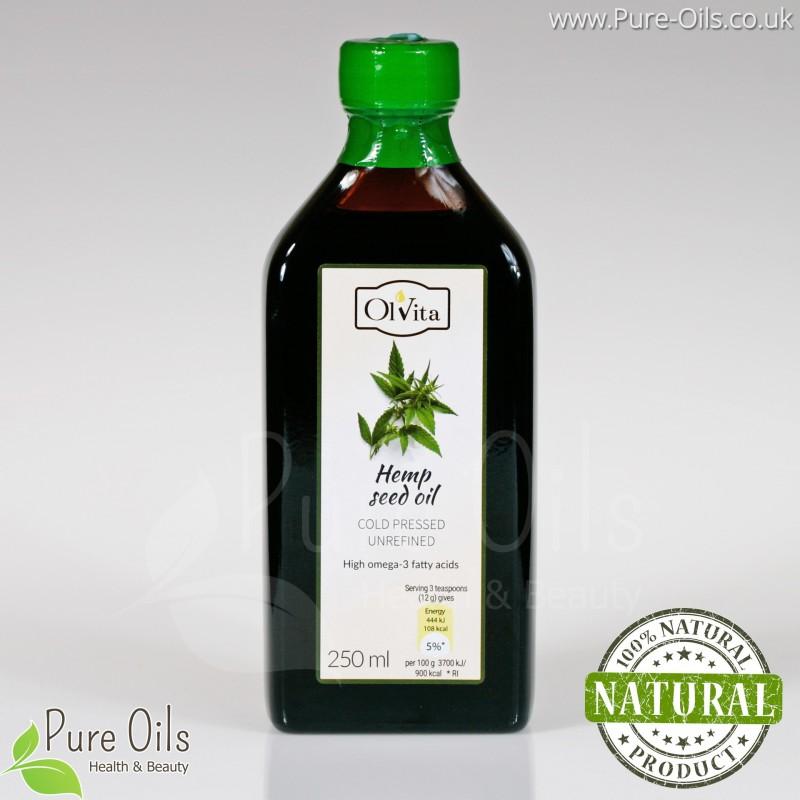 Hemp seed, cannabis oil, cold-pressed and crude Ol'Vita 250 ml