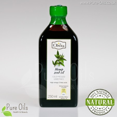 Hemp seed / cannabis oil, cold-pressed and crude Ol'Vita 250 ml