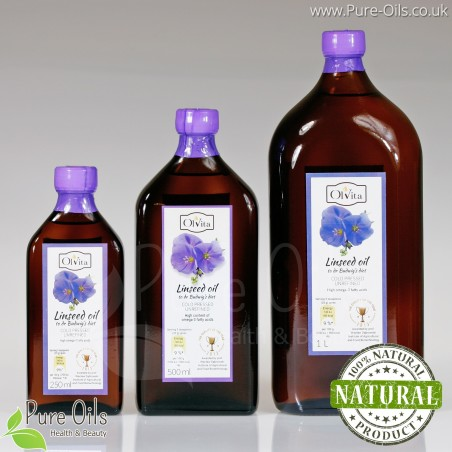 Linseed / Flaxseed oil for Dr Budwig diet, cold-pressed and crude Ol'Vita 250 and 500 ml