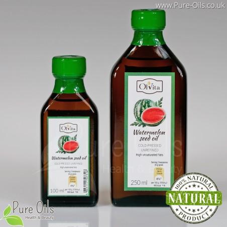 Olej z pestek arbuza, nierafinowany, zimnotłoczony, Ol'Vita - 100 ml i 250 ml