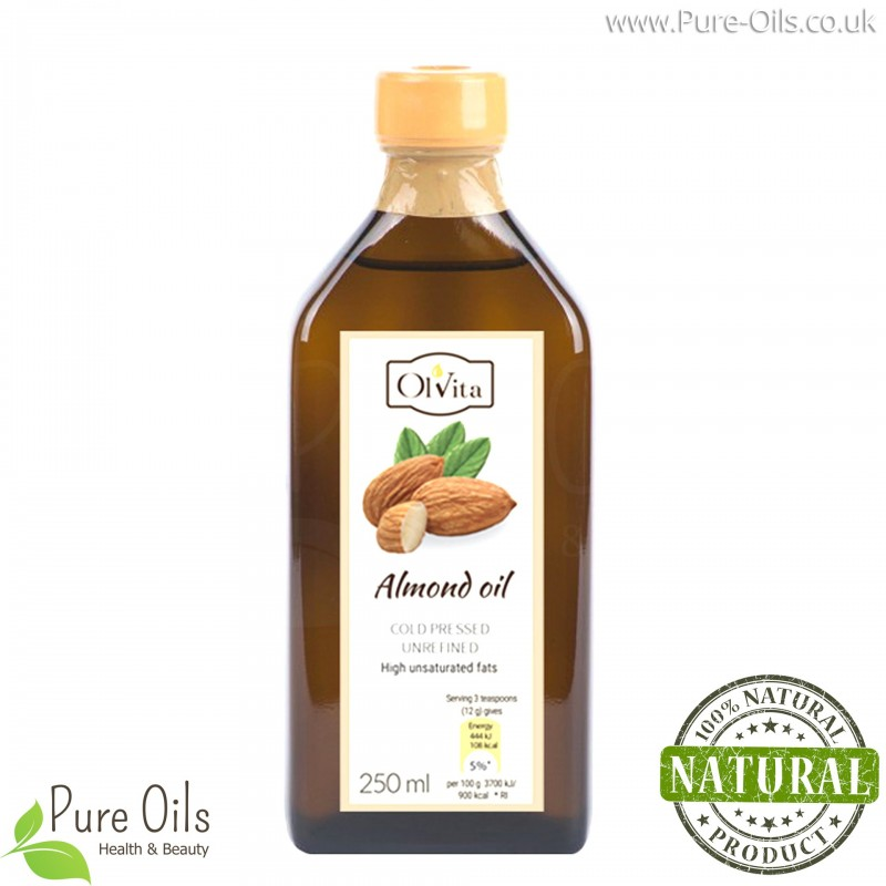 Almond oil, cold pressed, unrefined, crude, Ol'Vita 250ml