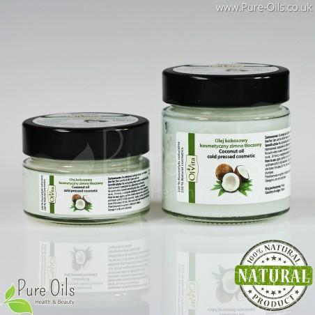 Coconut Oil, Cosmetic, Cold-Pressed, Ol'Vita 100 ml and 200 ml