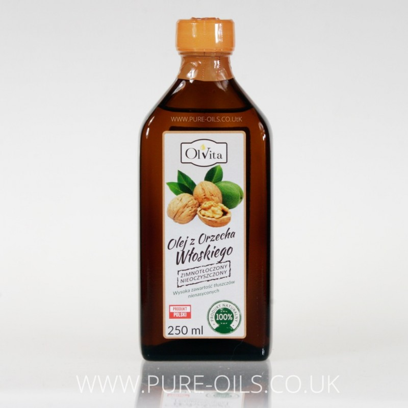 Olej z orzecha włoskiego, zimnotłoczony, nieoczyszczony, Ol'Vita 250 ml