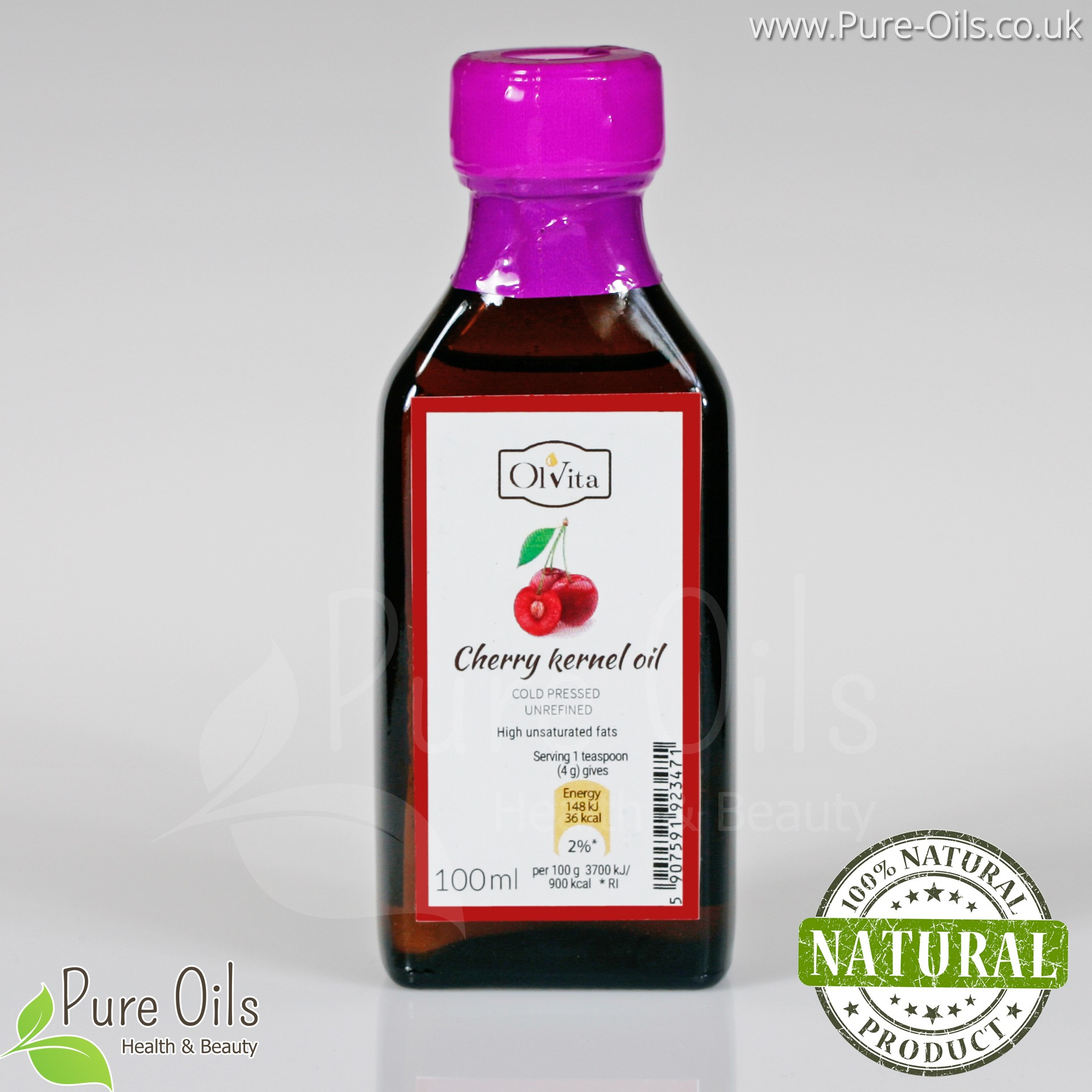 Cherry Seed Oil - Cold Pressed Unrefined - Ol'Vita