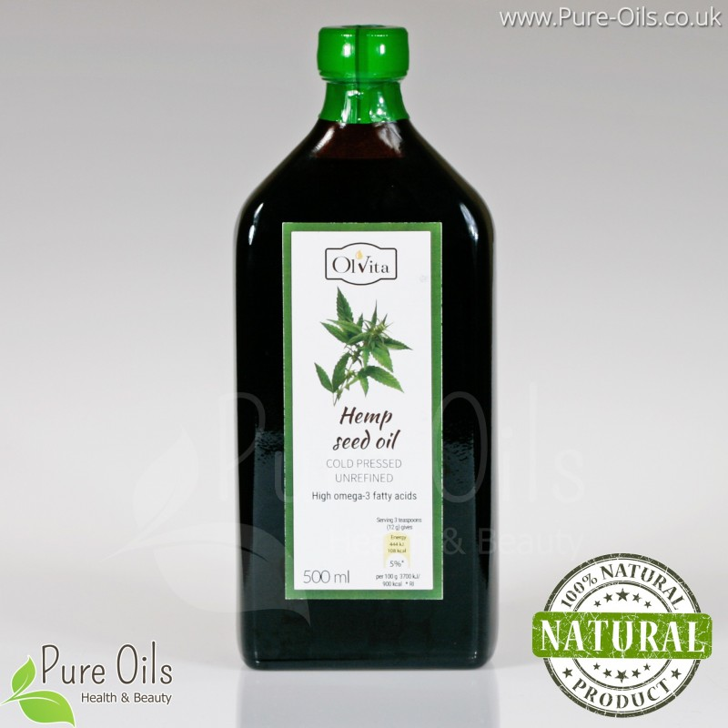Hemp seed / cannabis oil, cold-pressed and crude Ol'Vita