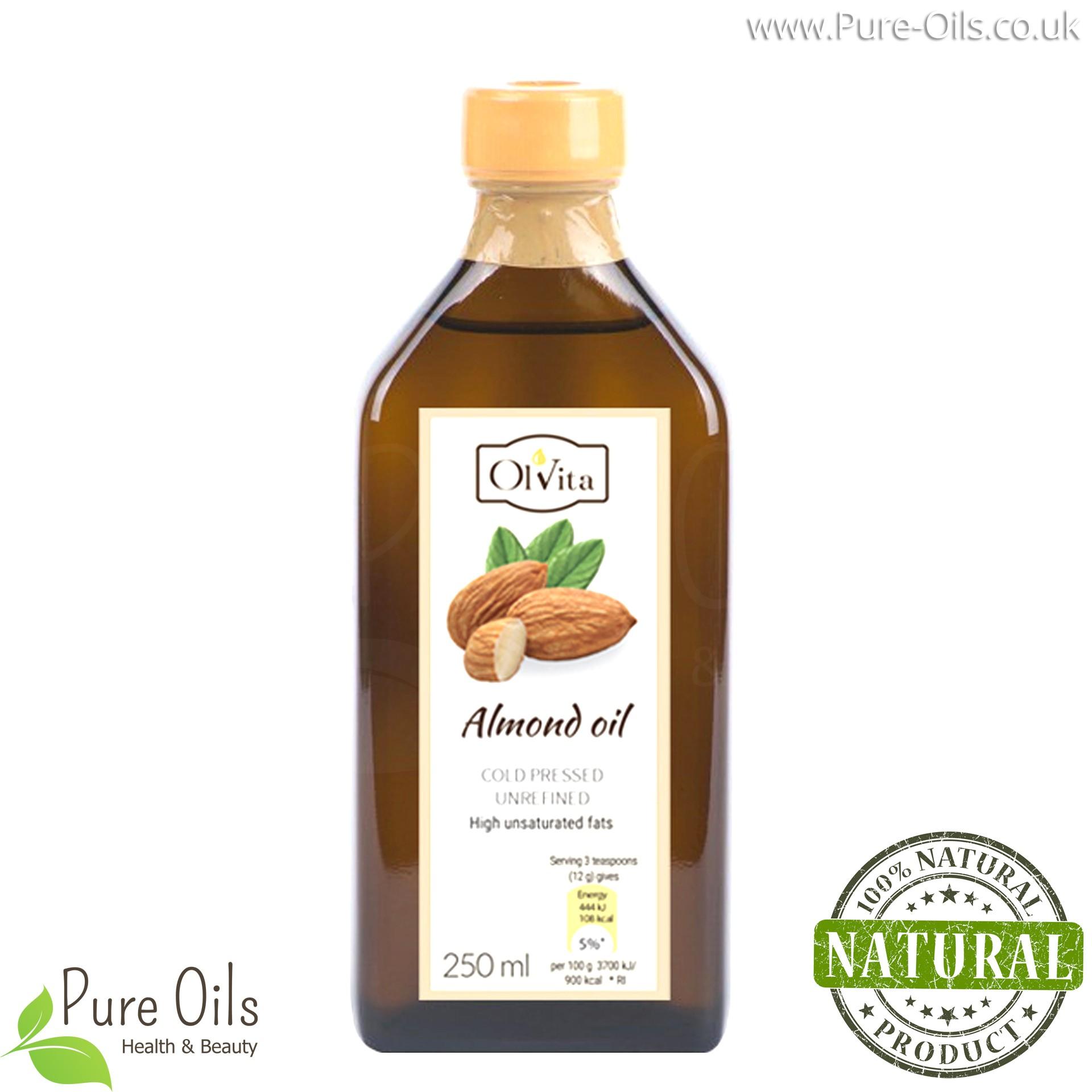 Almond oil, cold pressed, unrefined, crude, Ol'Vita 250ml