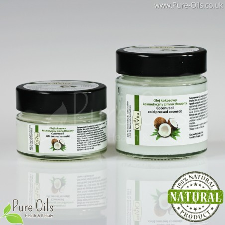 Coconut Oil, Cosmetic, Cold-Pressed, Ol'Vita 100 ml and 200 ml