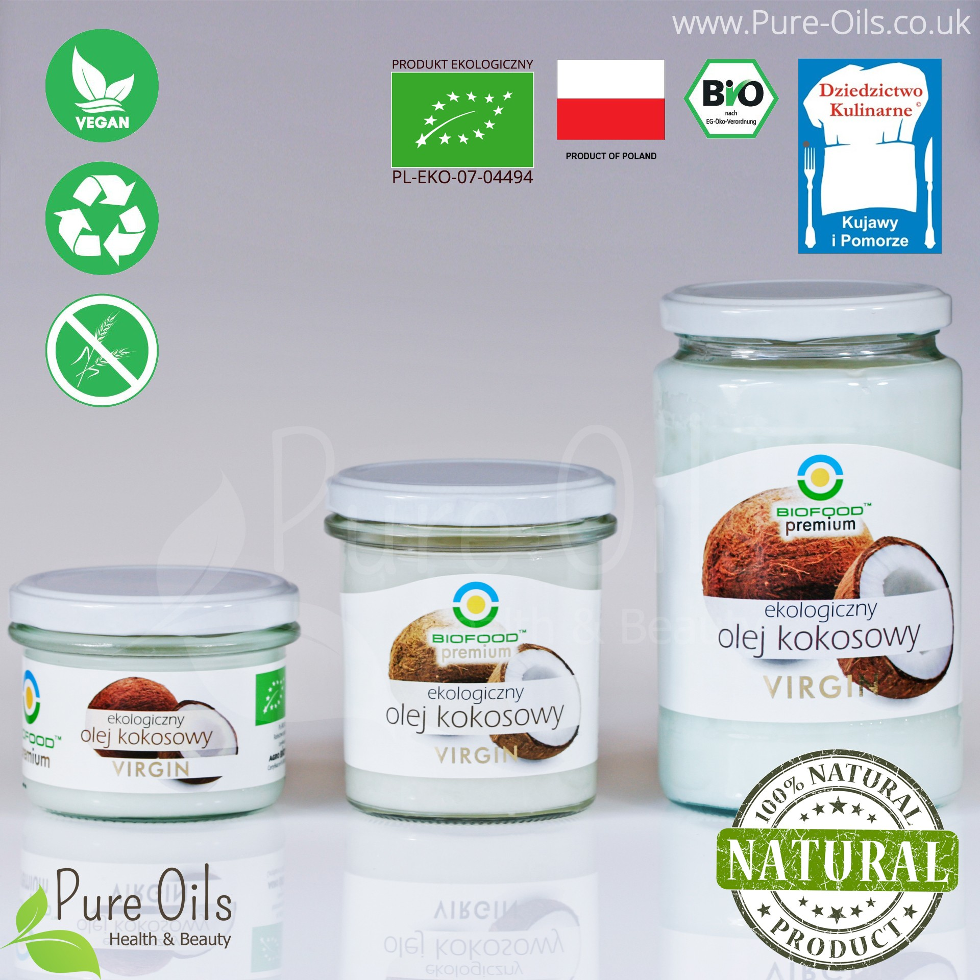 Coconut oil, cold-pressed, Organic, BioFood - 180 ml