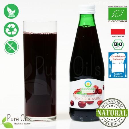 Sok z Żurawiny - ekologiczny, tłoczony, NFC, Biofood