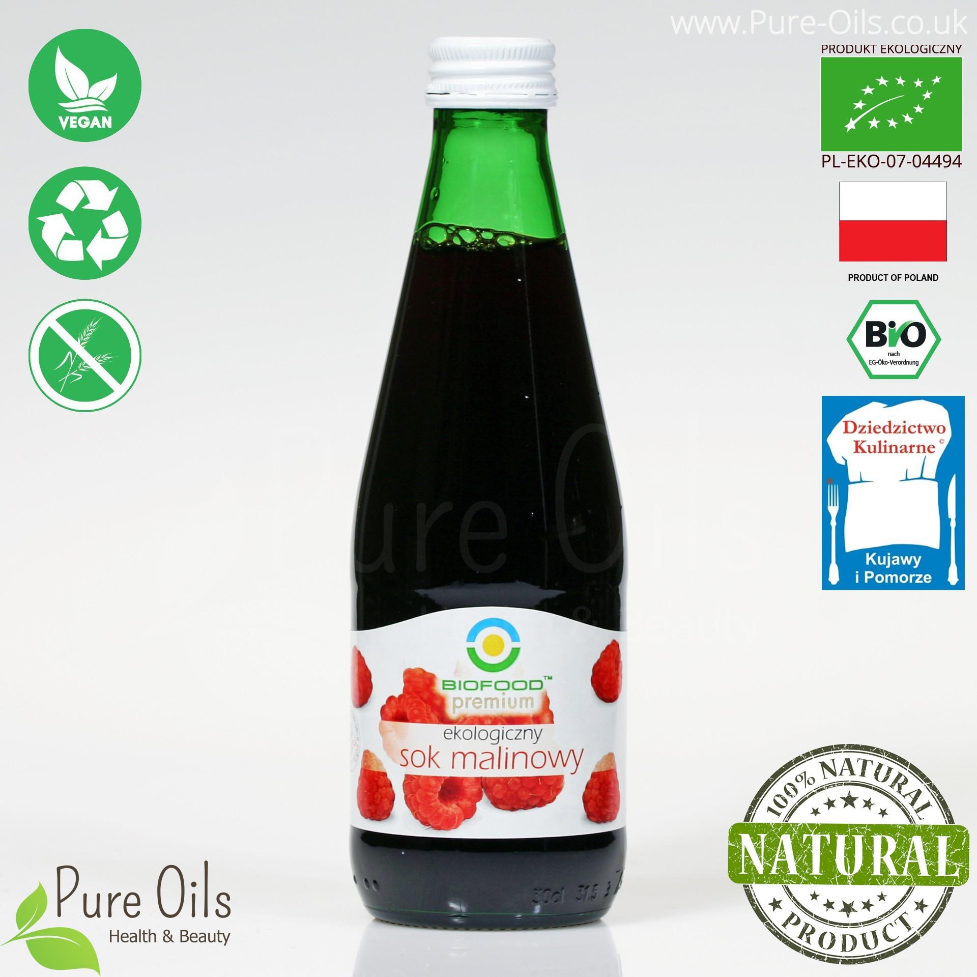 Sok Malinowy - ekologiczny, tłoczony, NFC, Biofood