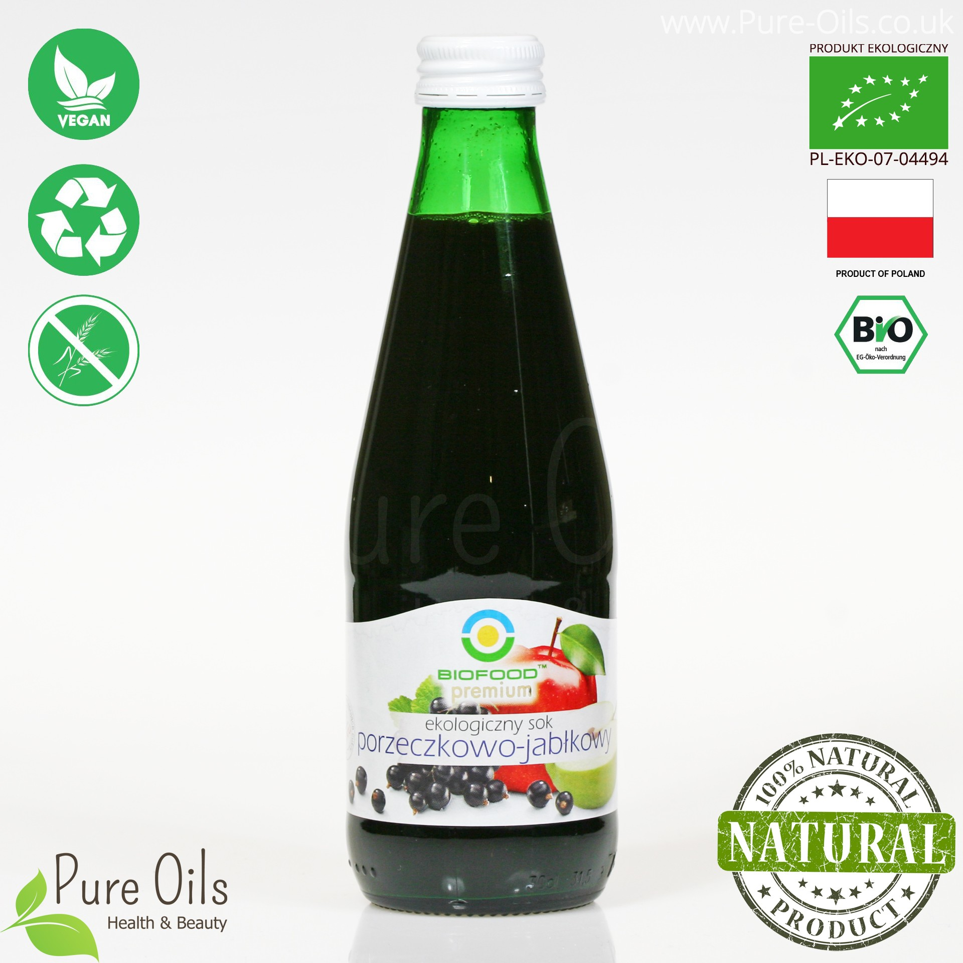 Blackcurrant-Apple Juice - Pressed, NFC, Organic, BioFood