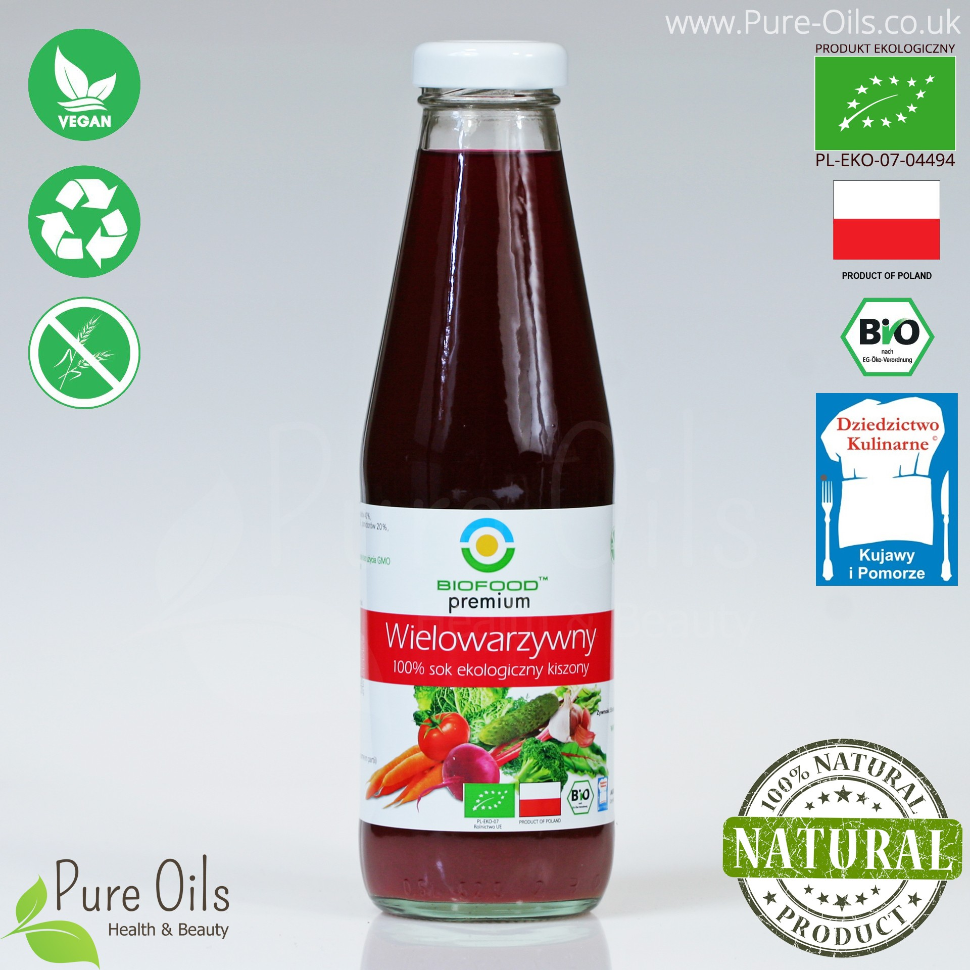 Multi Vegetable Juice - Lactic Acid Fermented, Organic, BioFood 500 ml