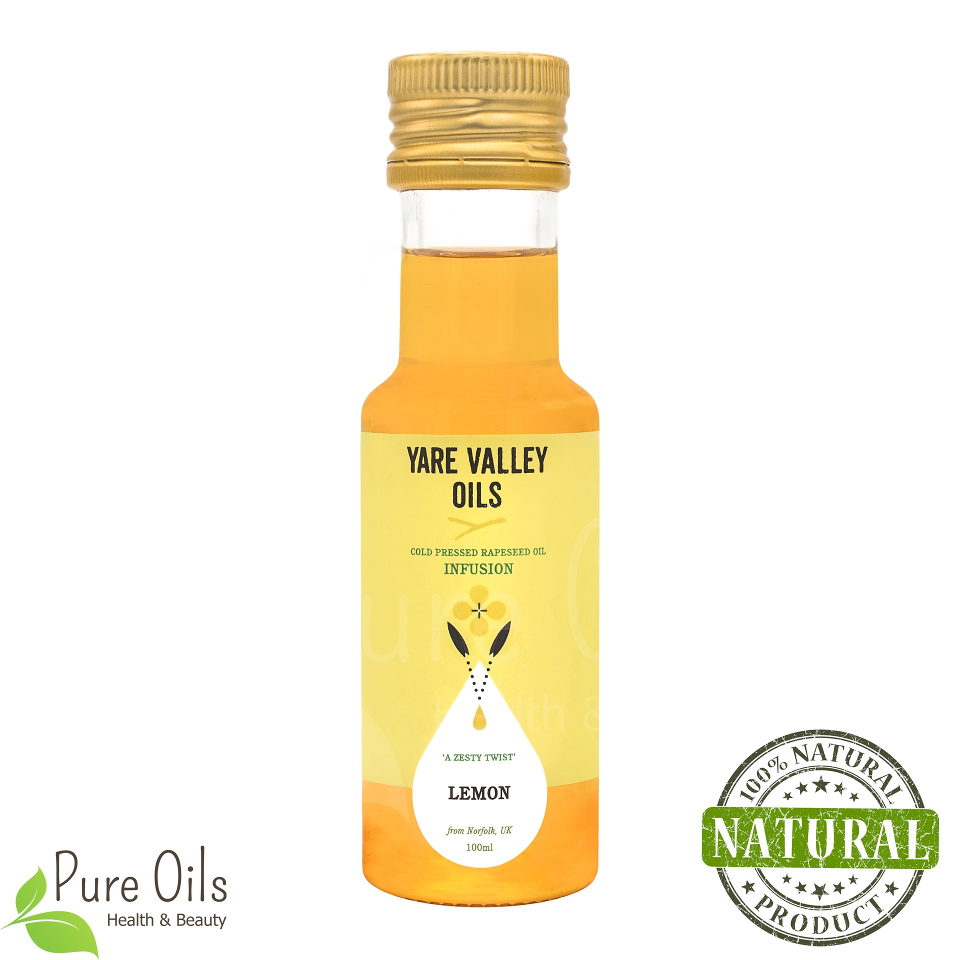 Lemon Rapeseed Oil, Cold Pressed, Yare Valley