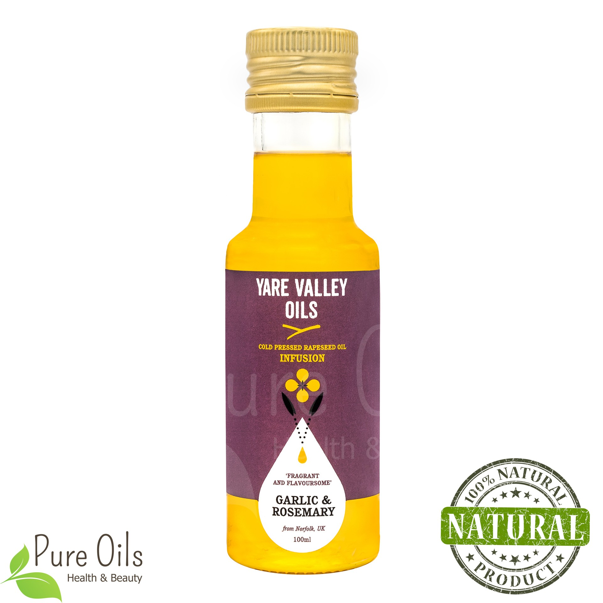 Garlic and Rosemary Rapeseed Oil, Cold Pressed, Yare Valley