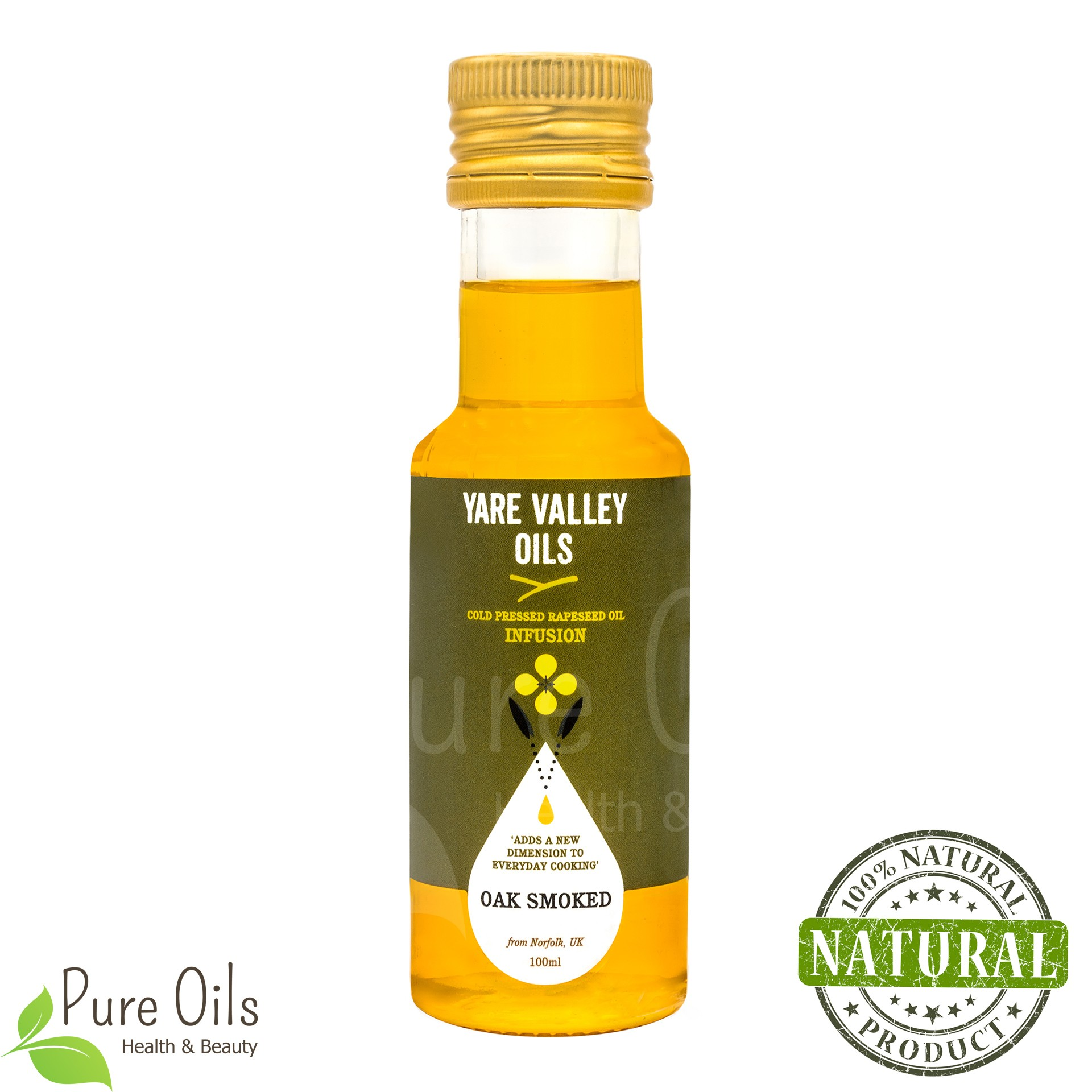 Oak Smoked Rapeseed Oil, Cold Pressed, Yare Valley