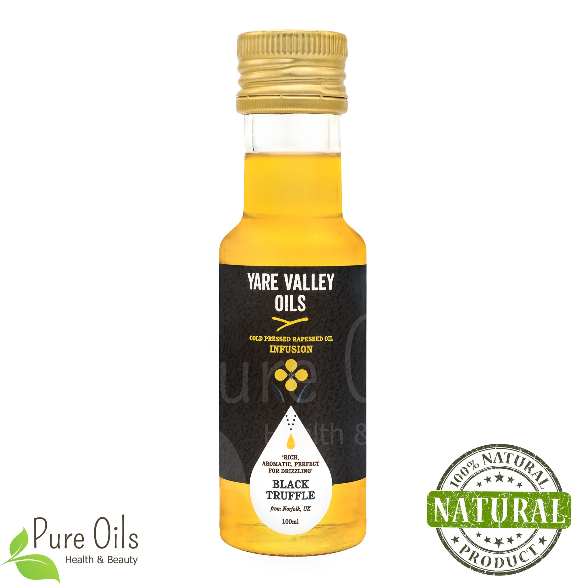 Black Truffle Rapeseed Oil, Cold Pressed, Yare Valley