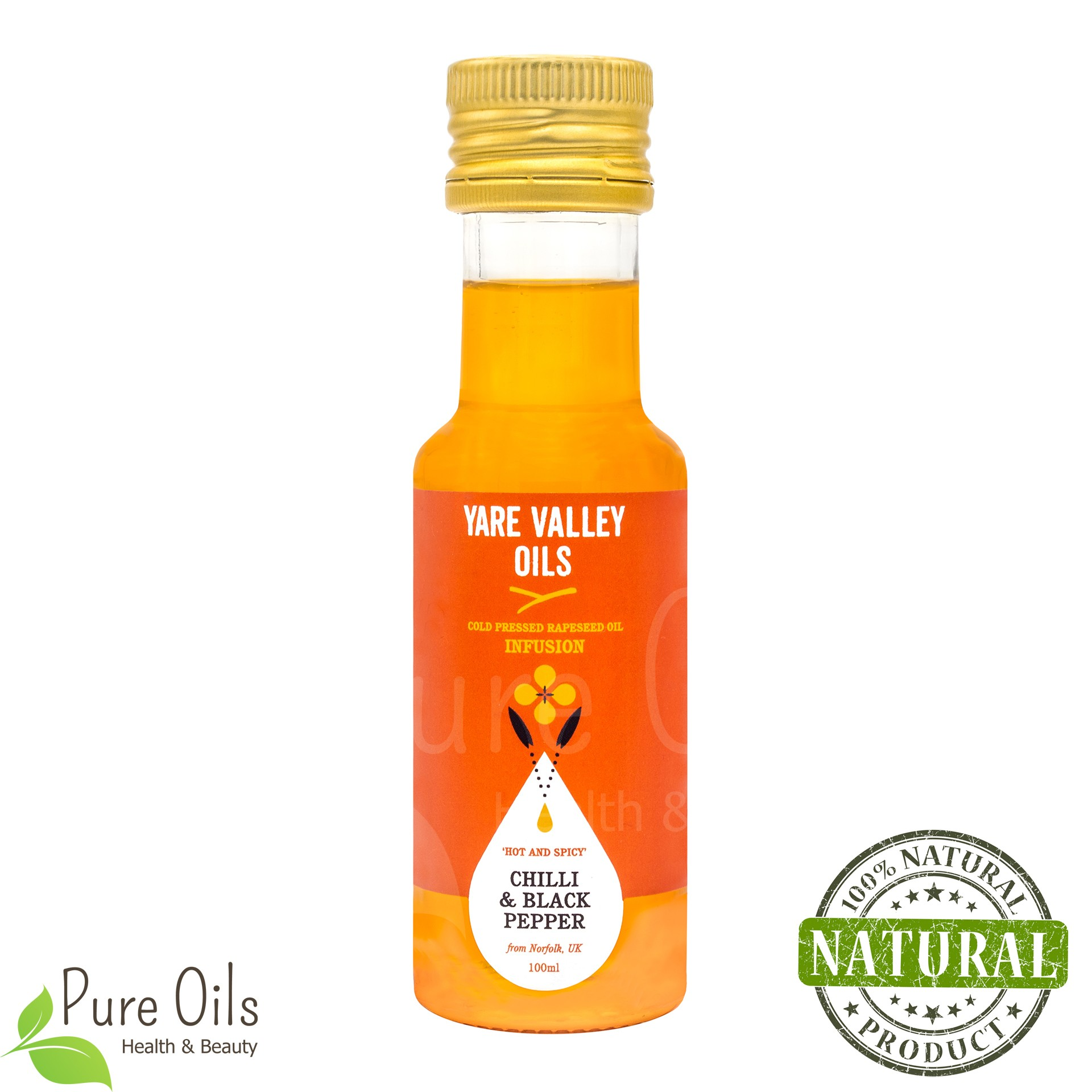 Chilli & Black Pepper Rapeseed Oil, Cold Pressed, Yare...