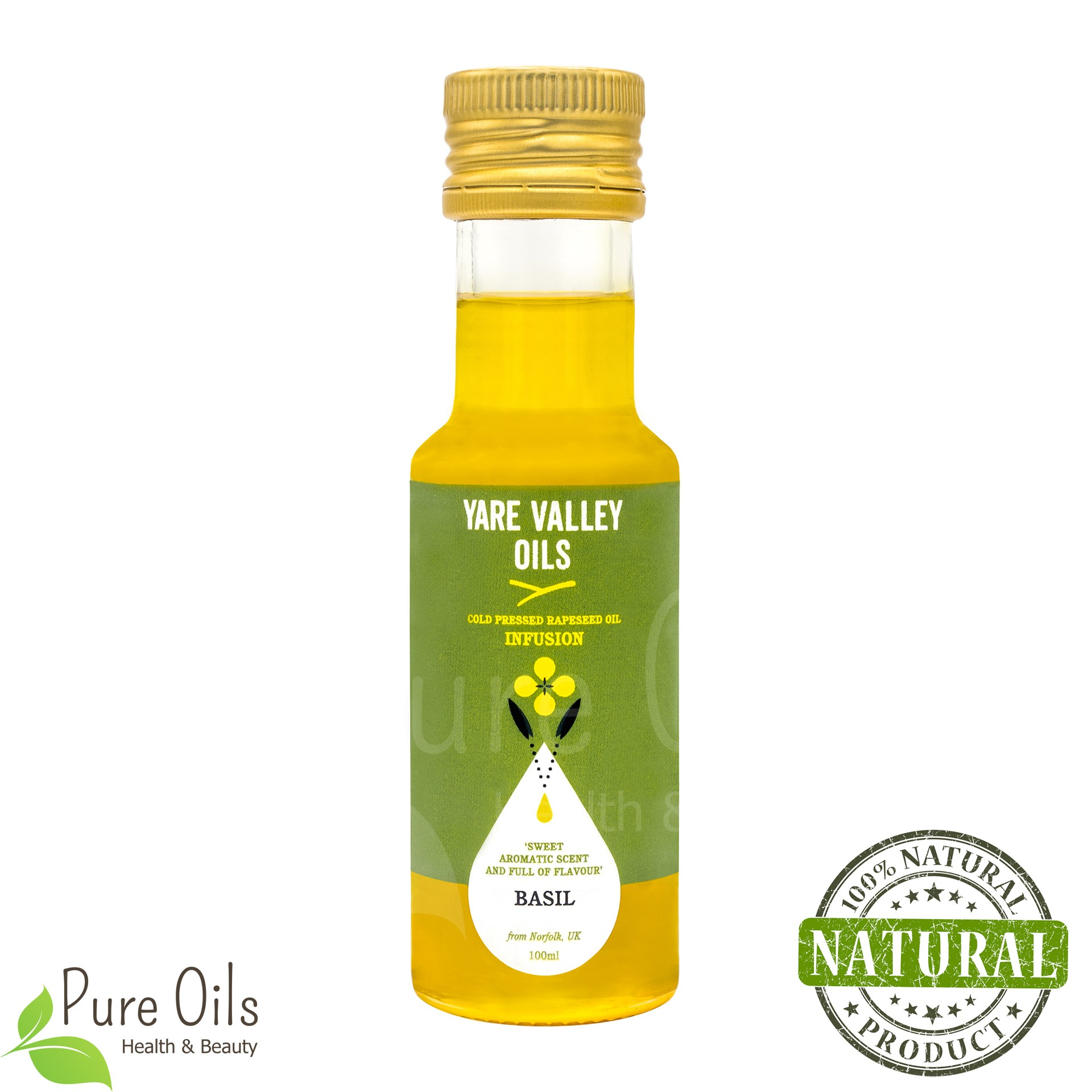 Basil Rapeseed Oil, Cold Pressed, Yare Valley