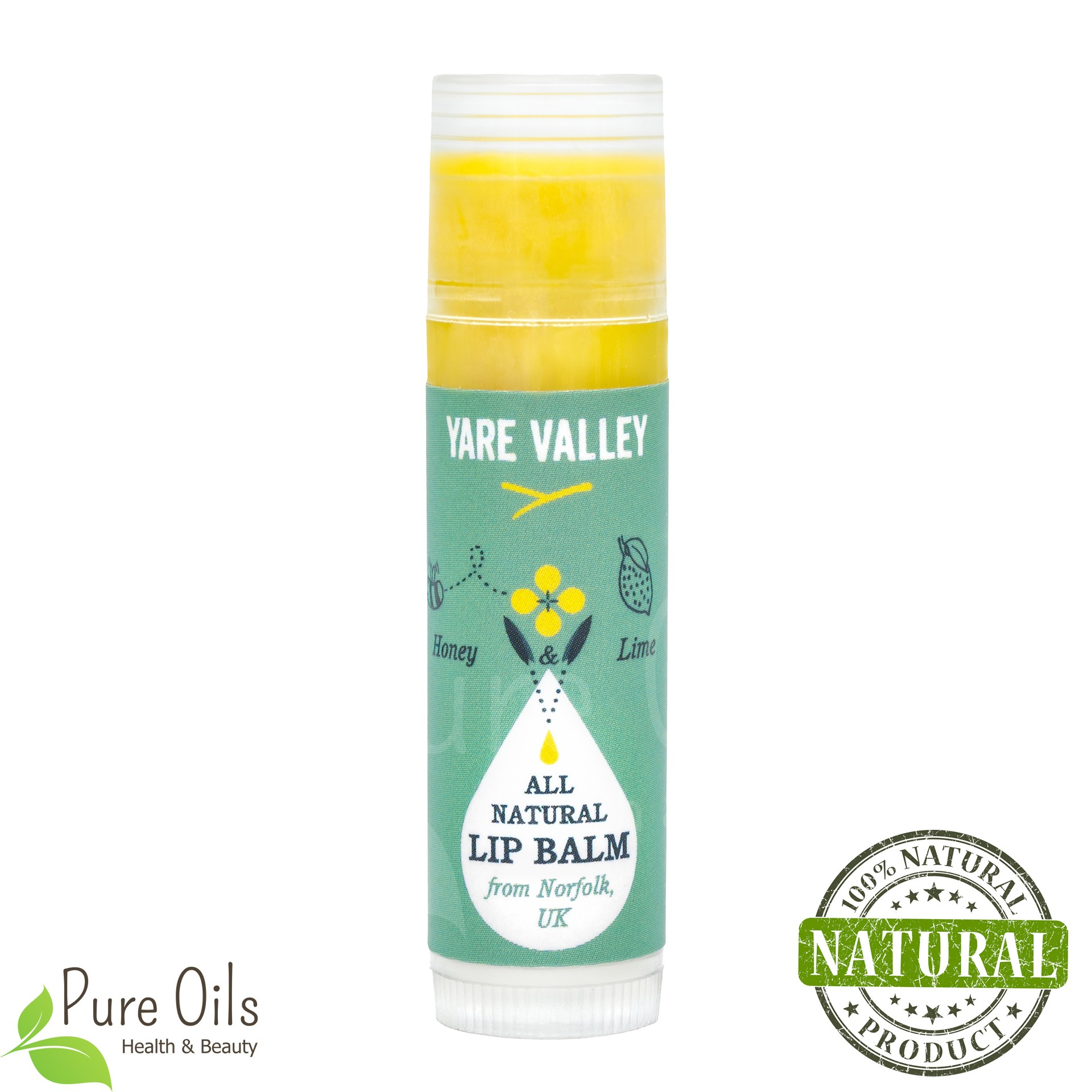 Honey and Lime Natural Lip Balm Stick, Yare Valley