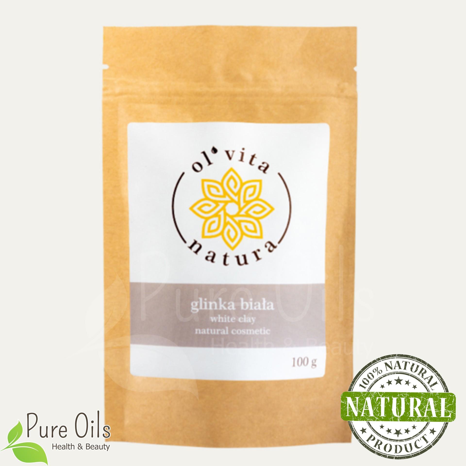 White Clay - Natural organic cosmetic, Ol'Vita 100 g - label