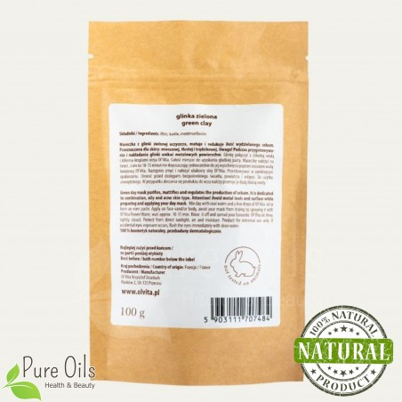 Green Clay - Natural organic cosmetic, Ol'Vita 100 g  rear label
